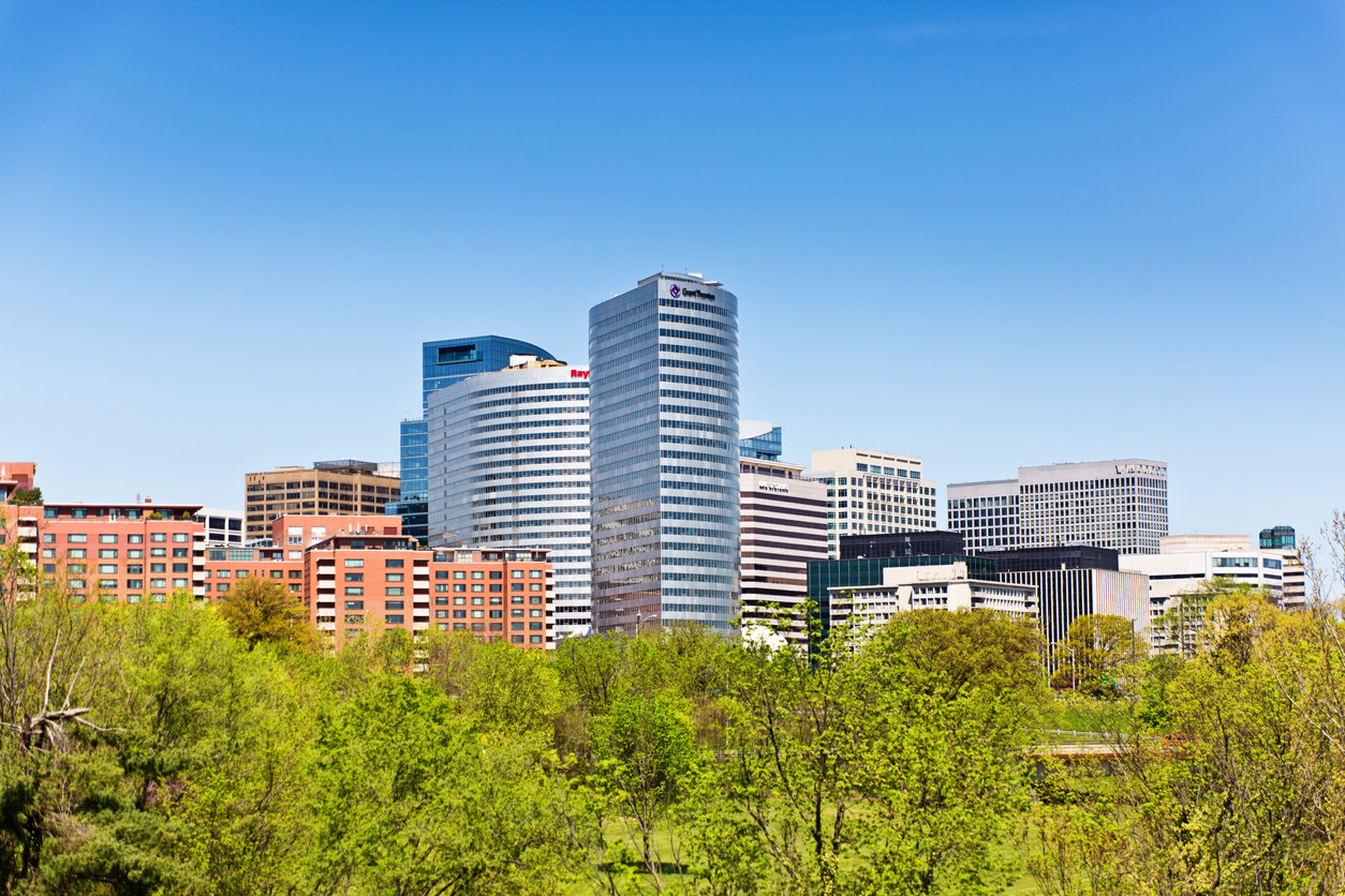 """The skyline of Reston, Virginia. Across the Potomac River from Washington. a """"New Town"""" planned communities in the United States."""