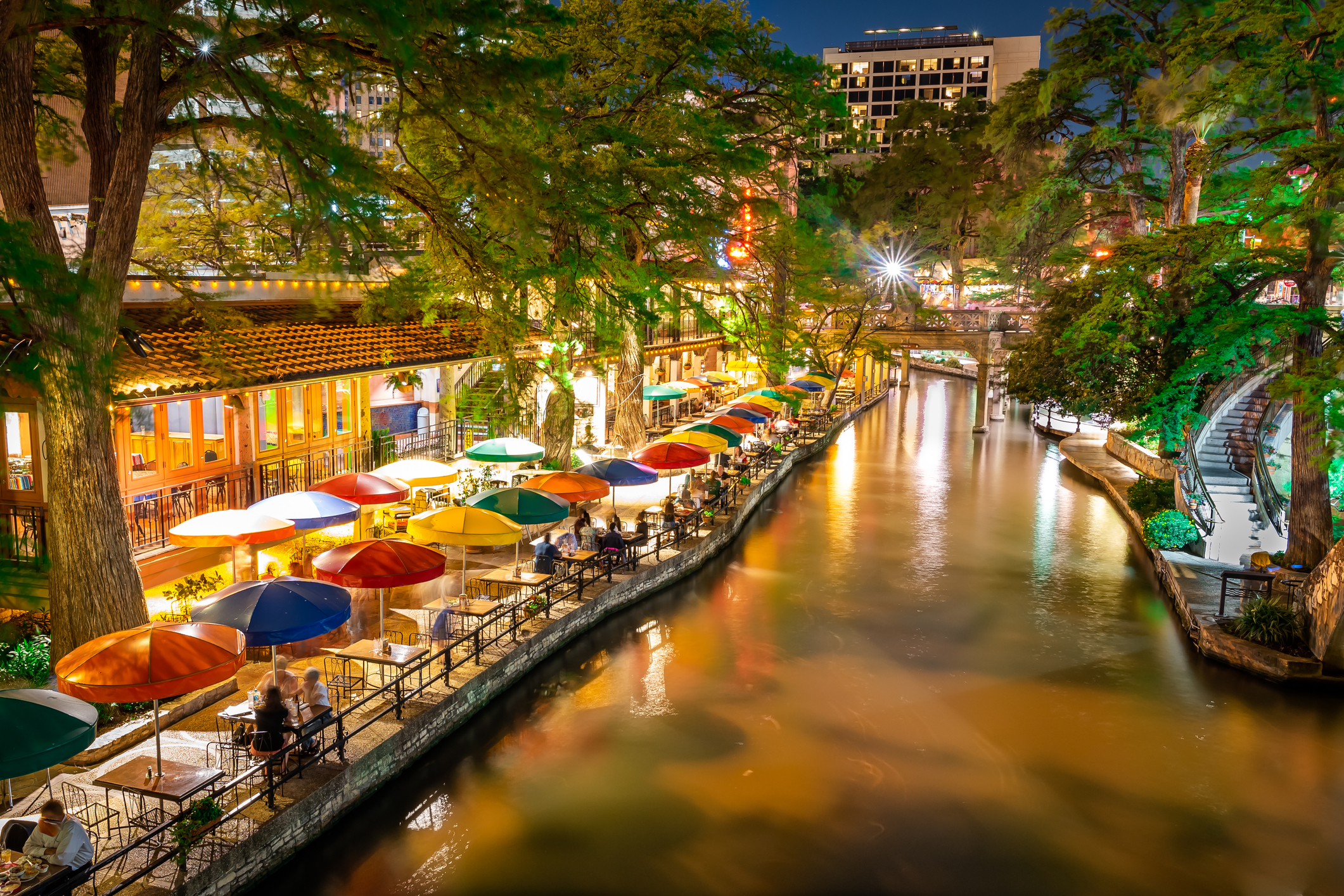 Long exposure night photography of San Antonio Riverwalk