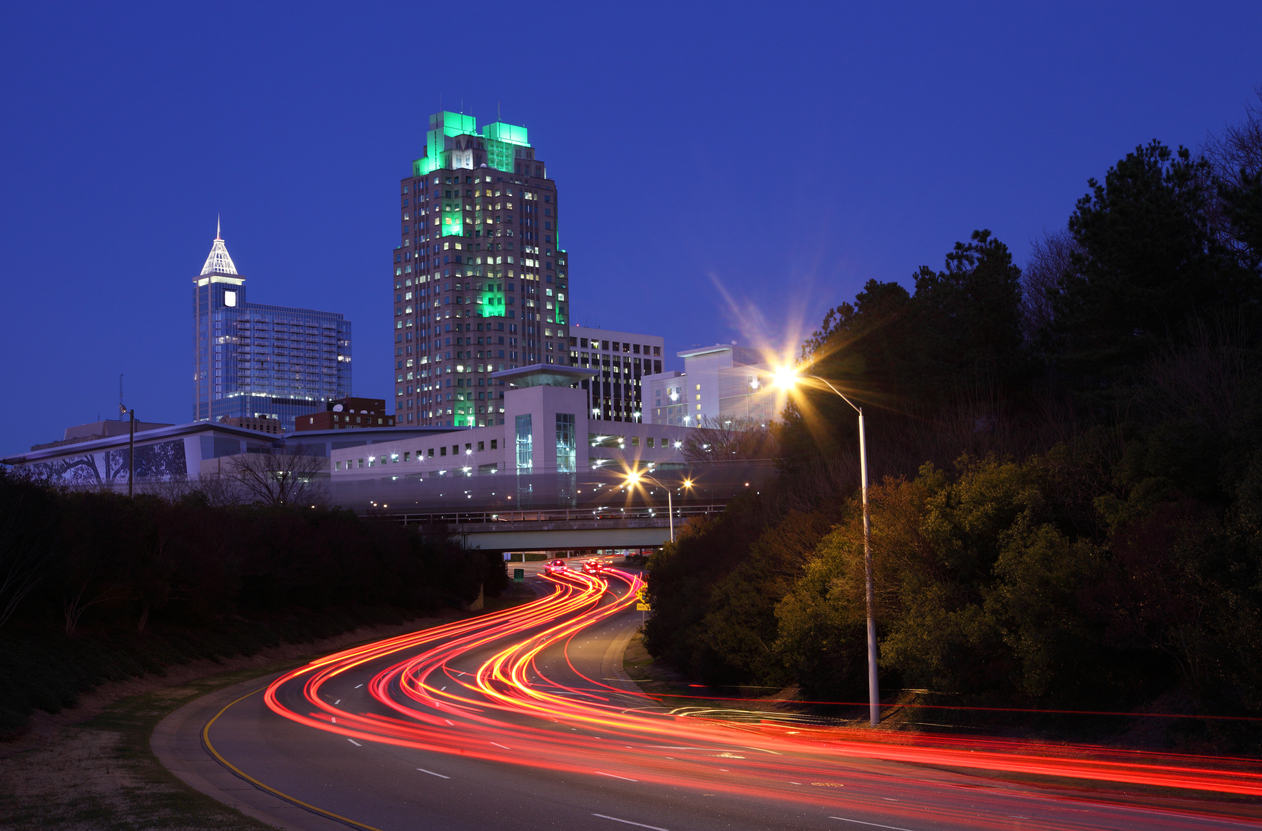 Traffic leading into downtown Raleigh, North Carolina